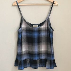 Anthro CLOTH & STONE plaid tank with ruffle hem